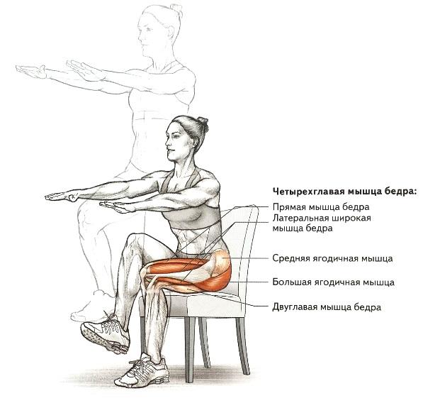 Преседания на стул на одной ноге
